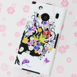 T-01Cケース 特殊印刷カバー 043 春の花と少女 L T―01C レグザフォン t01c REGZAPhone T-01C