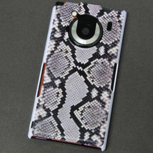 T-01Cケース 特殊印刷カバー 049 ヘビ柄 白 T―01C レグザフォン t01c REGZAPhone T-01C用