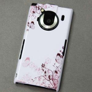 T-01Cケース 特殊印刷カバー 142 桔梗と桜と蝶 T―01C レグザフォン t01c REGZAPhone T-01C用
