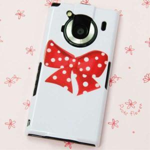 T-01Cケース 特殊印刷カバー 297 ドットリボン赤 T―01C レグザフォン t01c REGZAPhone T-01C