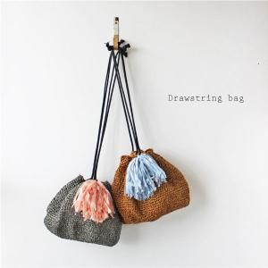 毛糸蔵かんざわオリジナルキット57 樹皮もどきで編む巾着バッグ 【KN】 星野真美デザイン glitt 編み物キット|keitogura