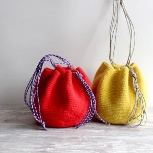 毛糸蔵かんざわオリジナルキット67 アウトドアコードの巾着バッグ 【KN】 星野真美デザイン glitt 編み物キット|keitogura
