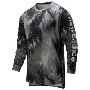 997S プリント ヘザーテック ロングスリーブTシャツ ブラックマルチ 【NewBalance|ニューバランス】サッカーフットサルウェアーamt01|kemarifast