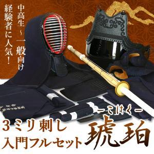 剣道 防具 入門 セット 3ミリ刺し 「琥珀」●印伝風面乳革「金・トンボ」プレゼント|kendouya
