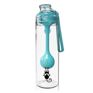 500ミリリットルポータブルスポーツ飲料水ボトル付き多機能スプーンプラスチック漏れ防止フォールプ Medium Turquoise|kenji1980-store