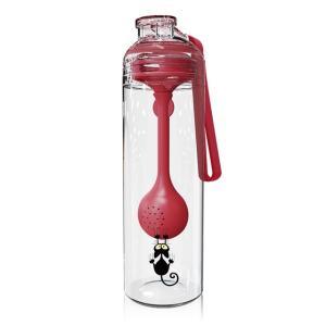 500ミリリットルポータブルスポーツ飲料水ボトル付き多機能スプーンプラスチック漏れ防止フォールプルーフ酒飲み用子供大人#3 Red Wine|kenji1980-store