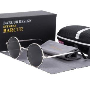 BARCUR サングラス メンズ レディース レトロ おしゃれ Silver Gray 偏光 ミラー スポーツ ドライブ デザイナー ルネットデソレイユオム シルバーグレー|kenji1980-store
