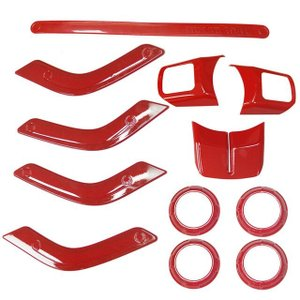 12ピース/ロットステアリングホイールトリムエアコンベントインテリアアクセサリードアハンドルカバーキットabsクローム用ジープラングラーjk Red|kenji1980-store
