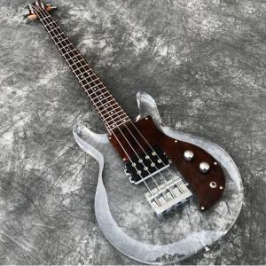 高品質 4弦 エレクトリックベースギター 超オシャレ アクリルボディ 木材ビックガード メイプルネック カスタム低音ギター|kenji1980-store