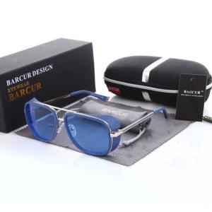 BARCUR サングラス おしゃれ デザイン メンズ パンク レトロ ヴィンテージ  トニー・スターク風 ブルー|kenji1980-store