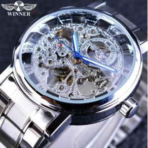 T-WINNER 高級メンズ腕時計 手巻き式 機械式 スケルトン ステンレスバンド スチームパンク ...