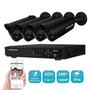 SUNCHAN 4CH AHD 1080P セキュリティカメラ * 2.0MP 1920TVL 屋内/屋外耐候性弾丸カメラ ビデオシステム|kenji1980-store