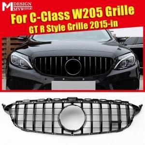 W205 GTS スタイルフロントメッシュグリル W205 C クラス C180 C200 C250 ABS製 スポーツ フロントバンパーグリル 2015〜2018|kenji1980-store