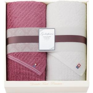 極ふわ やさしいたおる‐premium‐ 大判バスタオル2枚セット (YTP-161000 ) (ピンク・ホワイト)  (快気内祝 内祝 香典返し)|kenjya-gift