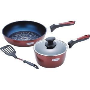 30%割引 ブラナーノ 片手鍋(18cm)&フライパン(26cm)ターナー付 (BM-9528)|kenjya-gift