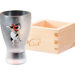 人気ギフト アデリア ねこぐらす 枡酒グラス(はちまきねこ)(6614)