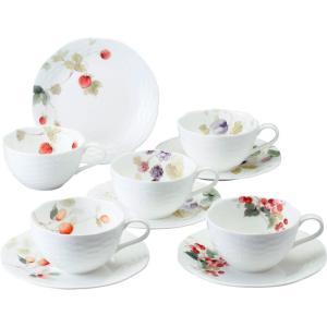 おすすめ人気ギフト ナルミ ルーシーガーデン 5客アソートティー・コーヒー碗皿(96010-23067P) (ギフト対応無料)|kenjya-gift
