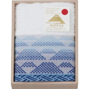 富士山染め  ハンドタオル(木箱入)(ブルー)(FJK4805)|kenjya-gift