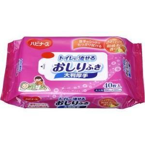 ハビナース トイレに流せる おしりふき大判厚手 40枚|kenko-depart