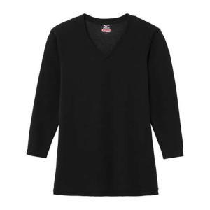 【ゆうパケット配送対象】Mizuno ミズノ ブレスサーモエブリプラス Vネック長袖シャツ(ネイビー) 中厚タイプ メンズ[C2JA664114](メール便)|kenko-ex