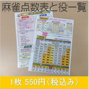 麻雀点数表と役一覧 1枚 メール便可|kenko-mahjong