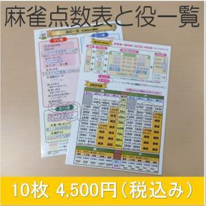 麻雀点数表と役一覧 10枚セット メール便可|kenko-mahjong