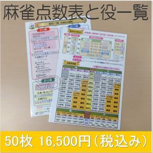 麻雀点数表と役一覧 50枚セット 送料無料|kenko-mahjong
