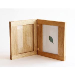 フォトスタンド 写真立て 木製 フォトフレーム 折りたたみ式 2枚収納 シンプル オシャレ 無垢 国産天然木 無垢材 飛騨高山 プレゼント 誕生日 ギフト 記念日|kenkou-otetsudai