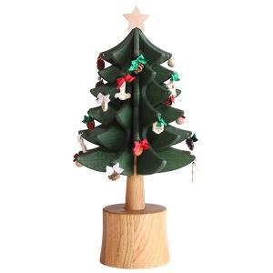 クリスマスツリー オルゴール 木製 オークヴィレッジ オルゴールツリー・スタンダード グリーン ナチュラル オーナメント24個付 国産 木製 送料無料|kenkou-otetsudai