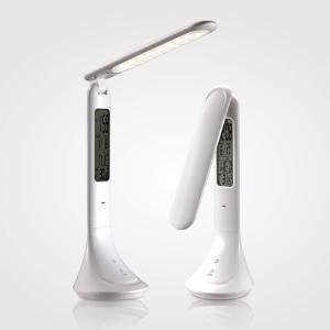 デスクライト デスクスタンド 折りたたみ LED 三段階調光 アラーム付き時計 カレンダー 温度計 MotoM LEDタッチランプ GST005W|kenkou-otetsudai