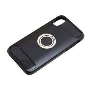 バウト iPhoneX用 ブラック ジャケット リング付き 耐衝撃  BCJI1703 kenkoubijin