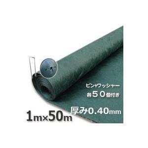 ザバーン防草シート(1m×50m)136グリーンとコ型ピン+ワッシャーが各50個ついたお買い得セットグリーンビスタ|kenzai-yamasita