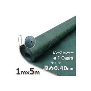 ザバーン防草シート136グリーン(1m×5m)とコ型ピン+ワッシャーが各10個ついたお買い得お試しセットグリーンビスタ|kenzai-yamasita