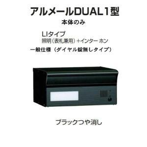 激安郵便ポスト 郵便受け  四国化成  埋込 アルメールDUAL1型LIタイプ ブラックつや消し 本体 ダイヤル無し|kenzai-yamasita