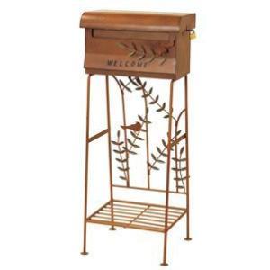 簡単設置なスタンドポスト 小鳥 ブラウン 激安郵便ポスト 郵便受け【送料無料】|kenzai-yamasita