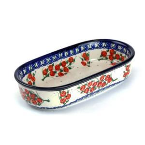 オーブン皿・オーバル・小[M1101-05R]【ポーリッシュポタリー[ポーランド食器・陶器]】|kersen