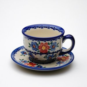 カップ&ソーサー[V033-U072]【ポーリッシュポタリー[ポーランド食器・陶器]】 kersen