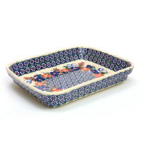 オーブン皿(グラタン皿)・スクエア・大[V149-A001]【ポーリッシュポタリー[ポーランド食器・陶器]】|kersen