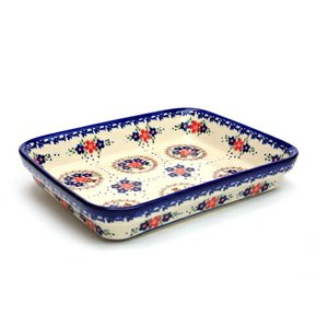 オーブン皿(グラタン皿)・スクエア・大[V149-A063]【ポーリッシュポタリー[ポーランド食器・陶器]】|kersen