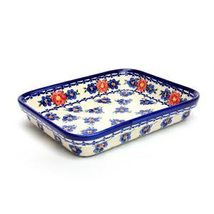 オーブン皿(グラタン皿)・スクエア・大[V149-U072]【ポーリッシュポタリー[ポーランド食器・陶器]】|kersen