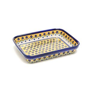 オーブン皿(グラタン皿)・スクエア・大[V149-U199]【ポーリッシュポタリー[ポーランド食器・陶器]】|kersen