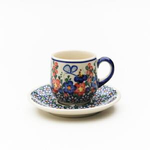 エスプレッソカップ&ソーサー[V222-A001]【ポーリッシュポタリー[ポーランド食器・陶器]】|kersen