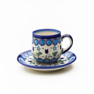 エスプレッソカップ&ソーサー[V222-U006]【ポーリッシュポタリー[ポーランド食器・陶器]】|kersen