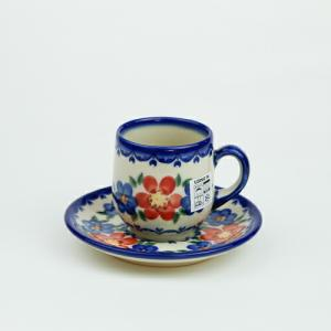 エスプレッソカップ&ソーサー[V222-U072]【ポーリッシュポタリー[ポーランド食器・陶器]】|kersen