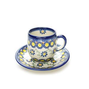 エスプレッソカップ&ソーサー[V222-U113]【ポーリッシュポタリー[ポーランド食器・陶器]】|kersen
