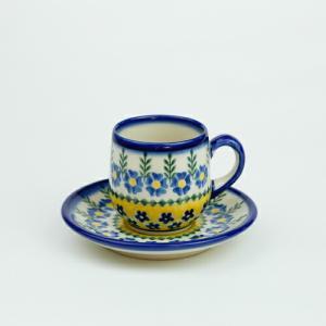 エスプレッソカップ&ソーサー[V222-U198]【ポーリッシュポタリー[ポーランド食器・陶器]】|kersen