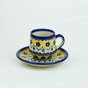 エスプレッソカップ&ソーサー[V222-U199]【ポーリッシュポタリー[ポーランド食器・陶器]】|kersen