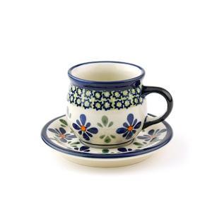 エスプレッソカップ&ソーサー[Z1121-1117-DU60]【ポーリッシュポタリー[ポーランド食器・陶器]】|kersen