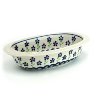オーブン皿(グラタン皿)・オーバル・小[Z227-912]【ポーリッシュポタリー[ポーランド食器・陶器]】 kersen