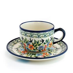 カップ&ソーサー[Z886-883-DU182]【ポーリッシュポタリー[ポーランド食器・陶器]】|kersen